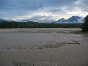 River near Parque Machia after heavy rain